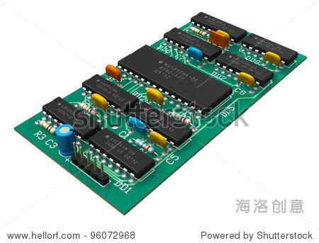 数字电路板芯片孤立在白色背景
