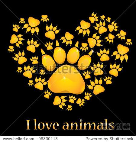 心与动物的足迹.矢量图