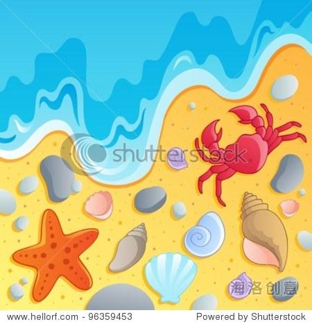 海滩贝壳和海洋动物1 -矢量插图.