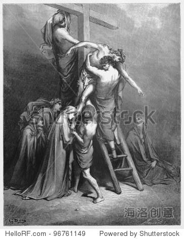 亚利马太的约瑟带来了耶稣从十字架上下来,照片来自圣经,旧约全书 和 新约全书 的书出版于1885年,集合Stuttgart Germany 图纸由古斯塔夫 多尔 复古风格,宗教