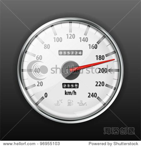 详细的汽车速度表警告图标,矢量插图 - 符号/标志