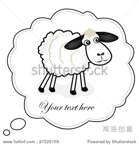 可爱的复活节羊矢量插图