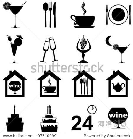 图标集餐厅,咖啡馆和酒吧孤立在白色背景.矢量图