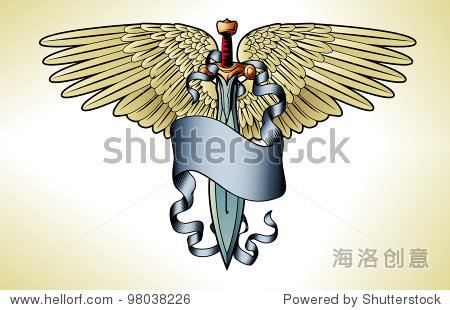 插图的复古剑旗帜翅膀纹身图片