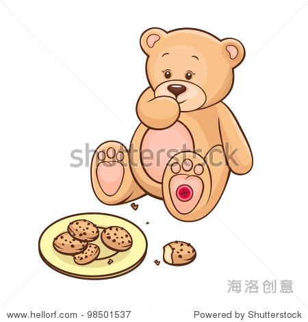 手绘可爱的泰迪熊吃饼干.