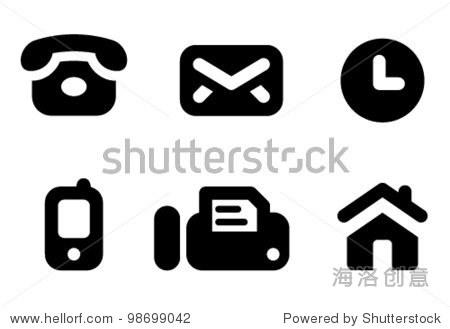 联系信息图标设置:电话,邮件,工作时间,手机,传真和网站.