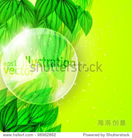 放大镜在美丽的绿叶,eco向量eps10背景