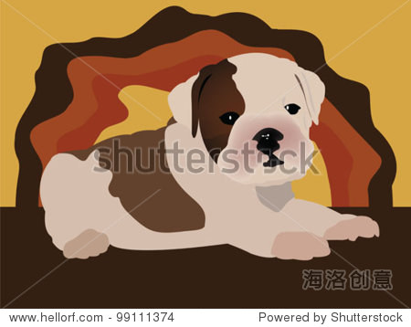 可爱的小狗——英国牛头犬向量