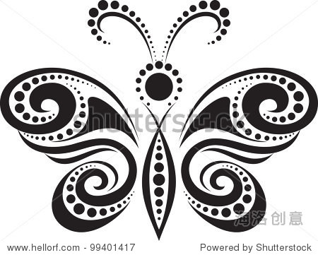廓线和点的一只蝴蝶 动物 野生生物,符号 标志 站酷海洛创意正版