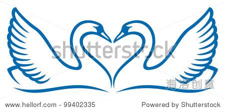矢量图的两个天鹅的爱