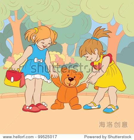 两个卡通小女孩在夏天在公园玩玩具熊.