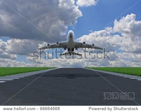 飞机在地面与草地跑道起飞