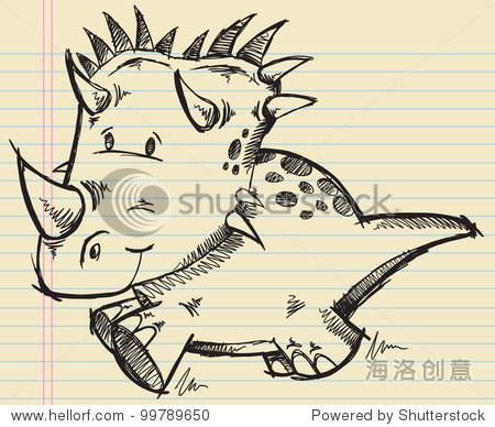 三角龙恐龙涂鸦素描矢量插图
