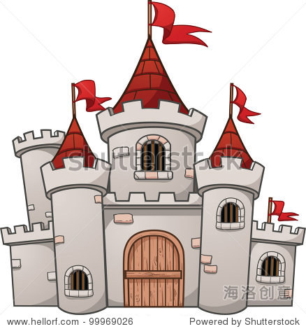 可爱的卡通城堡.使用简单的梯度矢量插图