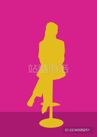 女主播坐姿剪影适量素材图片