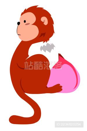 2016猴子与桃新年新春logo矢量图