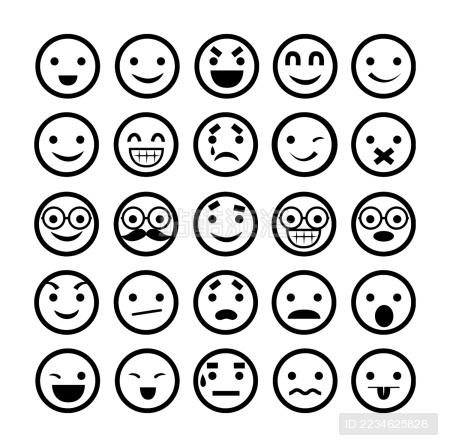 表情插画/笑脸图标/不同的情绪图片