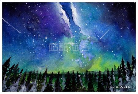 星空森林水彩插画 - 站酷海洛正版图片, 视频, 音乐