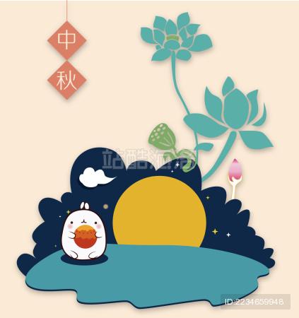 中秋节玉兔抱着月饼的创意矢量图