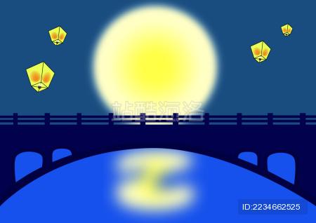 中秋节圆月孔明灯背景矢量图