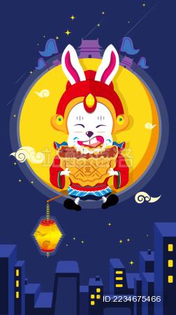 中秋节兔爷吃月饼卡通插画矢量