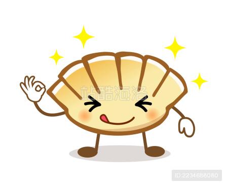 卡通画可爱的饺子先生