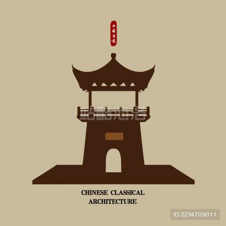 中国古建筑箭塔 标志logo素材 城楼