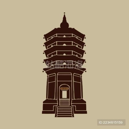 佛塔 古迹 文峰塔 标志logo矢量素材
