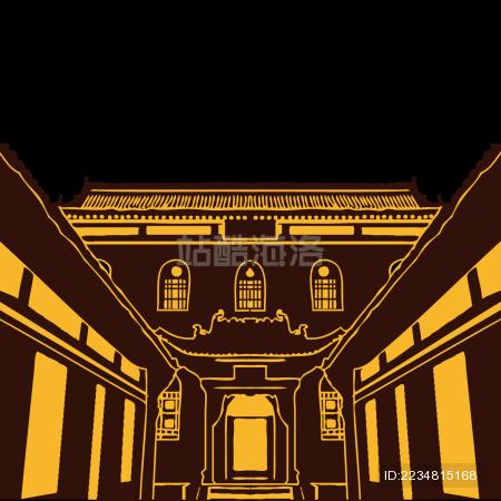 中国古典建筑 皇城相府 宫殿 古宅剪影矢量