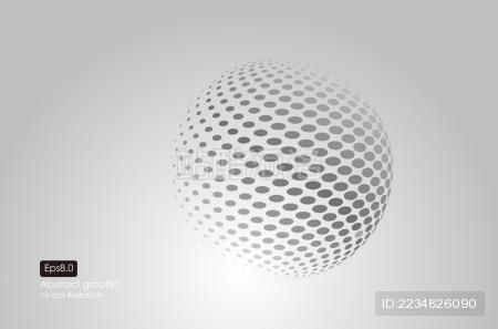 圆点组成3d球体背景 矢量图