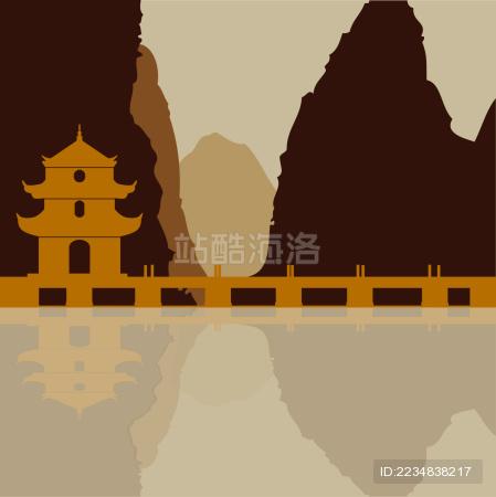 贵州旧州文昌阁塔山水 倒影 水墨风景矢量剪影