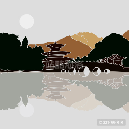 昆明黑龙潭公园 古桥 古典楼阁 山水风景剪影