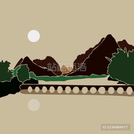 靖西鹅泉 山水河流古桥 倒影 水墨风景剪影