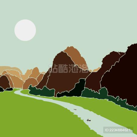 桂林山水 河流渔舟 草地 水墨风景剪影