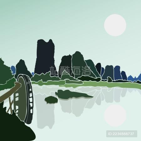 桂林山水 水车 倒影 水墨风景矢量剪影
