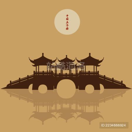 扬州瘦西湖五亭桥明月 剪影