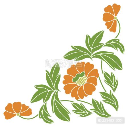中国风,花纹,边框,花,叶子