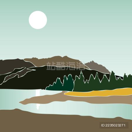 湖光山色 新疆天山牧场 矢量插画风景
