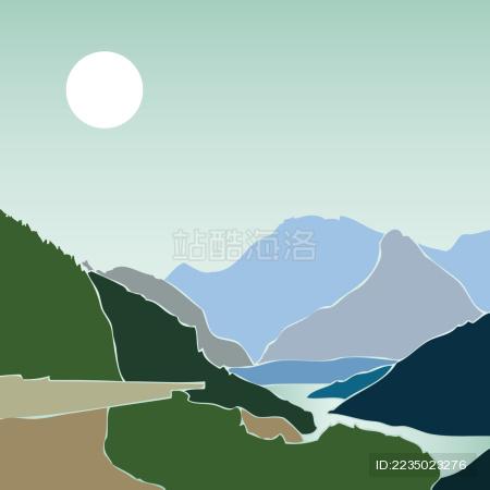 阿尔卑斯山 新疆天山牧场矢量插画风景