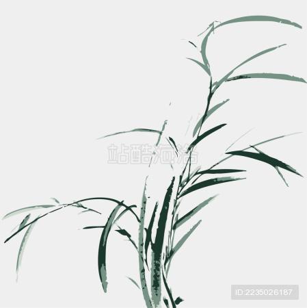 中国古典 水草 墨迹 水墨 手绘 中国画 矢量 标志logo素材