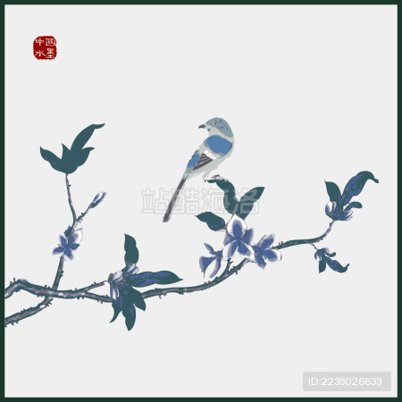 中国古典优雅 杏枝花手绘 喜鹊鸟水墨中国画 矢量剪影
