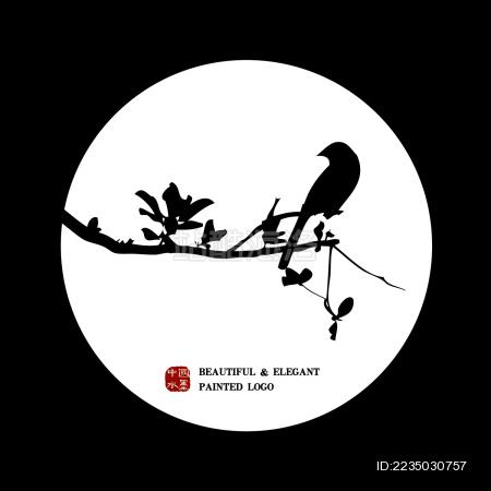 中国古典优雅 杏枝手绘 喜鹊雀鸟水墨中国画 矢量剪影