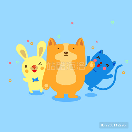 可爱的熊,狸猫,哈士奇,老虎,兔子形象矢量图