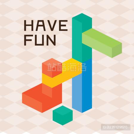 彩色积木矢量图 体素矢量 coloring block voxel vector
