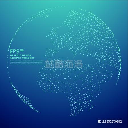 点阵组成的地球,世界地图,科技抽象矢量背景图