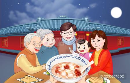 一家人吃团圆饭