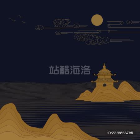 新中式深色背景亭台楼阁矢量山水画图