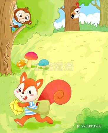 邮差小狐狸给森林里的小动物们送信