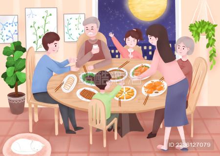 一家人晚上在一起吃饭 插画