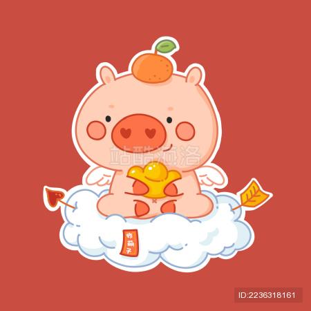 2019猪年春节创意插画素材